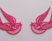 1 Pair of Pink Sparrow Iron On Patches