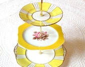 Alice Follows a Sunbeam 3 Tier Yellow China Cupcake Stand with Pink Rose For Afternoon Tea, an Art Deco Wedding or a Viceroy Centerpiece