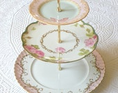 Alice Writes About Spring 3-Tier Tea Stand of Pink & Green Vintage China with Butterfly for Afternoon Tea, a Garden Birthday Party Display or Wedding Desserts Pedestal