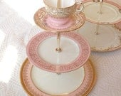 Alice Throws a Pink Party no. 8, Vintage China Jewelry Stand or Cake Plate for Cupcakes & Tea, 3 Tier for Girls Birthday, Shower, Wedding