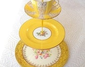 Alice Steals the Sunshine, Bright Yellow Cake Stand for High Tea in Vintage China, 3 Tiers for Wedding Cupcakes or Birthday Party