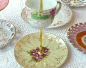 Alice in the Violets, Purple & Yellow 2-Tiered Vintage China Jewelry Stand Display with Gold and Roses -- FREE US SHIPPING