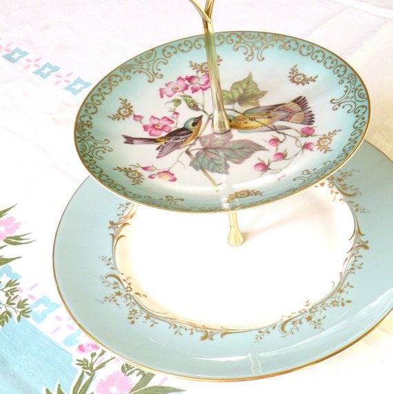 Alice Spies Two Lovebirds Vintage China 2 Tiered Stand in Tiffany Blue for Weddings, Cupcakes, Tea, Appetizers and Desserts