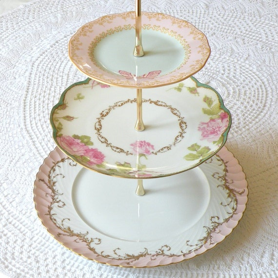 Alice Writes About Spring 3 Tier Tea Stand Of Pink Amp Green