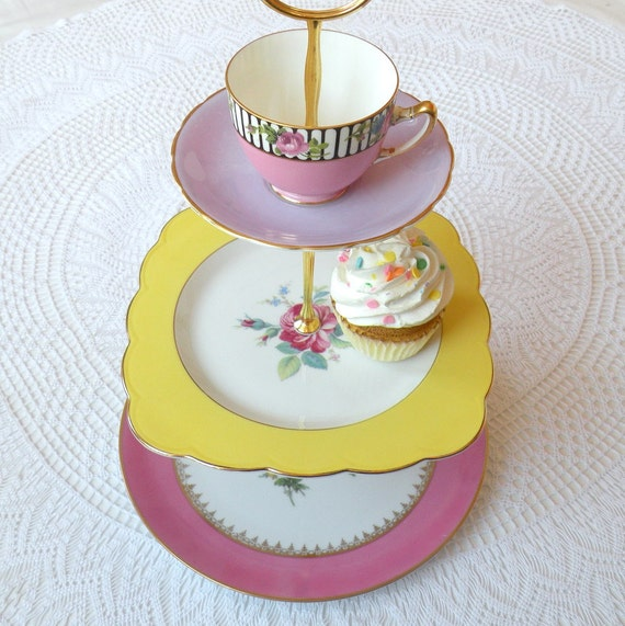 Alice Loves Spring, Vintage China 3 Tiered Cupcake Stand in Easter Egg Colors for Garden Tea Party, Birthday or Summer Wedding