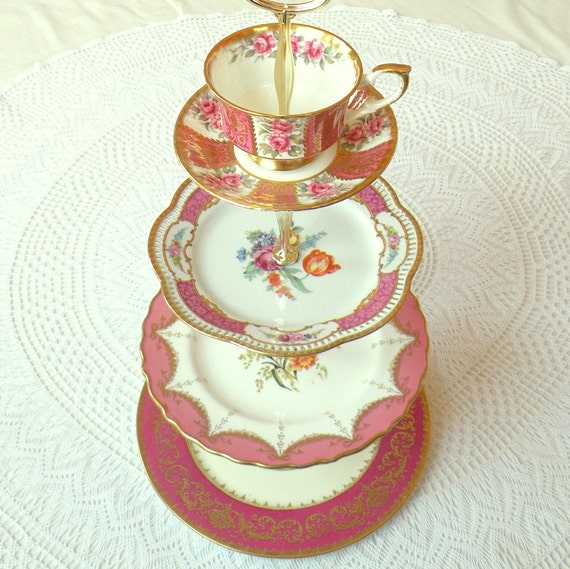 Alice Turns Pink, Large 4 Tier Gold & Raspberry Tea Stand of Vintage China for Wedding Cupcakes, Shower Dessert Display or Birthday Party