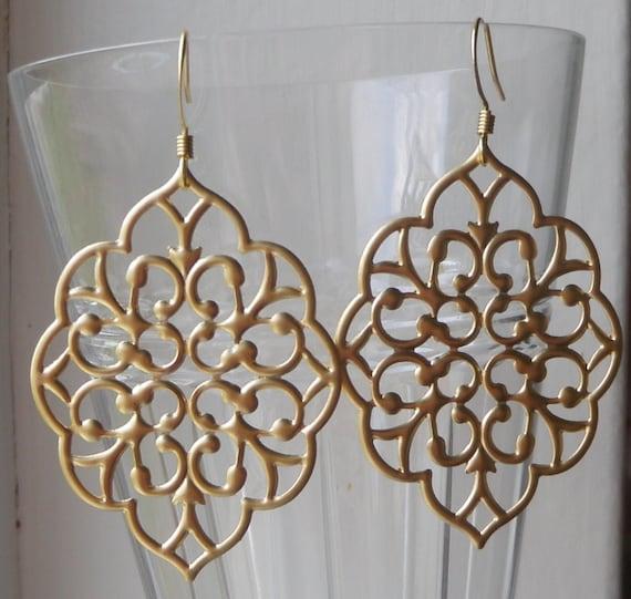 Gold Earrings, Gold Everyday Earrings, Filigree Earrings, Valentine Gift, Trendy, Everyday, Gold, Bridesmaid