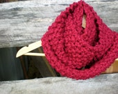 CLEARANCE womens infinity knit cowl scarf // cranberry red