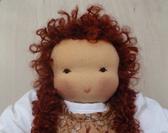 Blossom Waldorf Doll with White Dress and Copper Leaf Calico Print Pinafore 12 inch 20% Off Sale