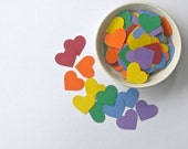 100 Hearts - Rainbow Card Stock Solid Colored Hearts- One Inch Paper Punches