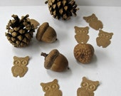 Embossed Owl Punches - Up-cycled Paper bag -  50 pieces - Hand Punched - Great for Confetti or Embellishments
