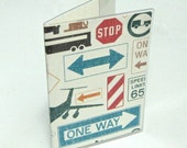 Vinyl Passport Cover - Great Gift for a Man - Road Blocks - Can't Get There from Here