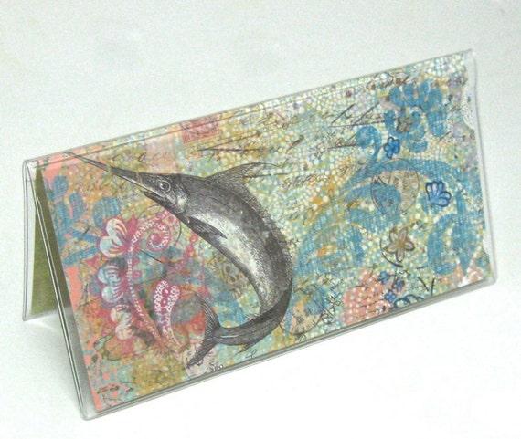 Vinyl Checkbook Cover - Deep Sea Swordfish