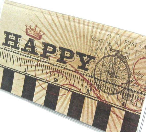 Vinyl Checkbook Cover - Happy - Vintage inspired with Old fashioned Bicycle, Ruler and Crown