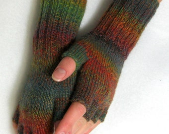 Knitted Fingerless Mittens (Wrist Warmers, Arm Warmers, Fingerless Gloves, Fingerless Mitts)  - Clover Colors - TO ORDER