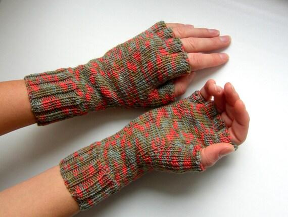 Knitted Fingerless Gloves (Wrist Warmers, Arm Warmers, Fingerless Mittens, Fingerless Mitts)  - Melody
