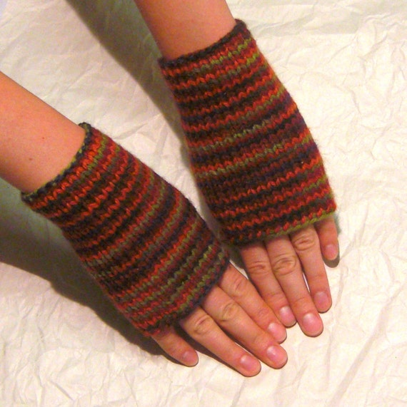 Knitted Fingerless Mittens (Wrist Warmers, Arm Warmers, Hand Knit Cable, Fingerless Gloves, Fingerless Mitts) - Harvest Colors