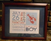 On The Day You Were Born Prints, Boys, Nautical, Lobster