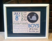 On The Day You Were Born Prints, Boys, Nautical, Whale