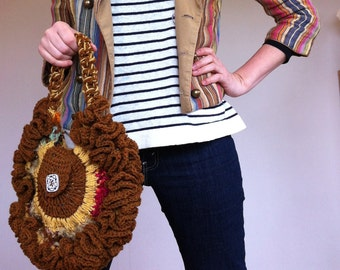Contemporary exclusive designed Scottish wool purse. Hand crocheted, designed and produced in Scotland.