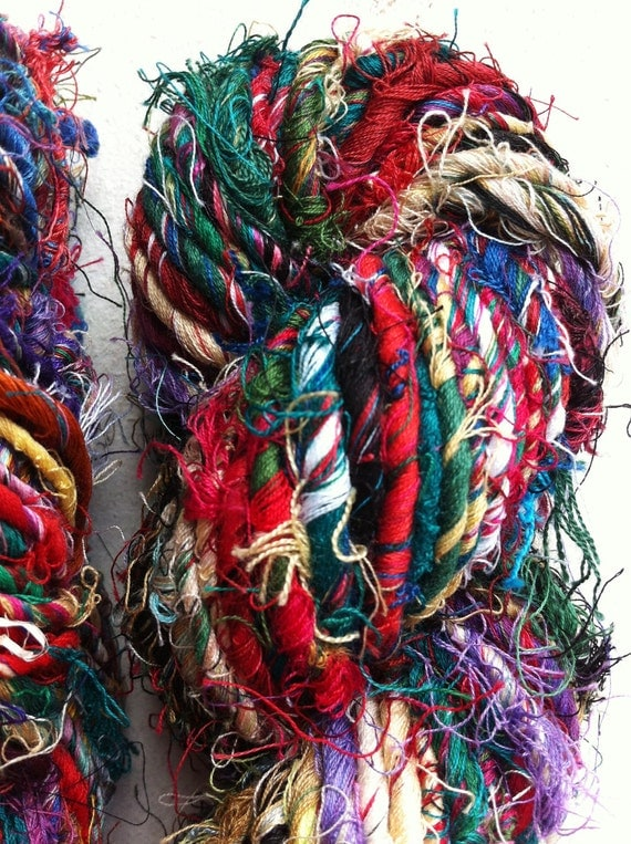 Mulitcolored recycled pure handspun cotton  yarn. Unique artisan yarn. Multiple skeins available. Fiber art supplies.