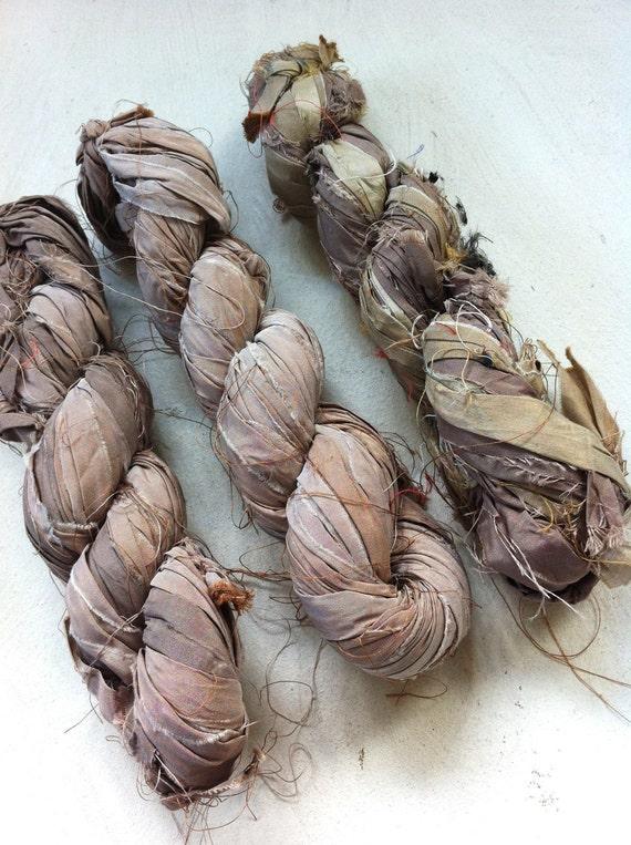 Sari silk ribbon. Inspirational yarn. Knitting yarn, crochet, wall hangings. Art yarn. Craft ribbon.