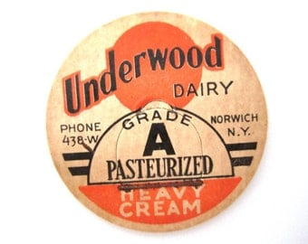 Vintage Milk Caps Underwood Dairy - Set of 2