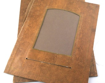 cabinet card album pages - 2 brown & gold