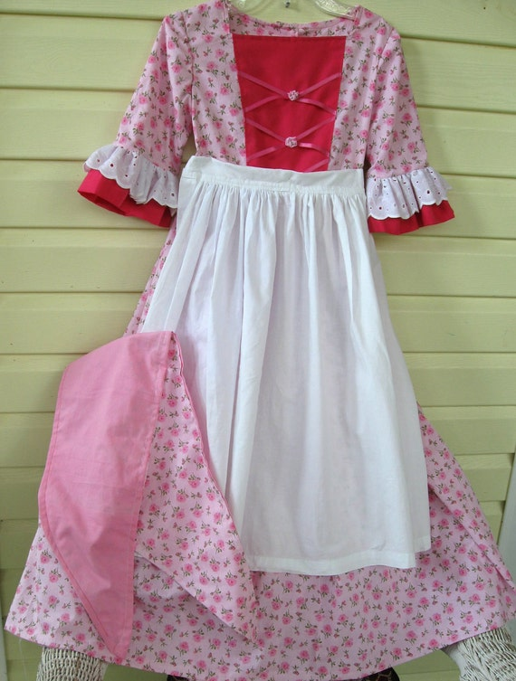 Colonial or Pioneer  Dress, Apron, Scarf and  Mob Cap -  Girls Size 4 - 5