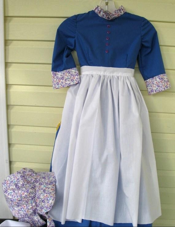 Trek, Pioneer, Prairie  Dress, Apron & Bonnet -Women's Sizes