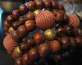 Rustic woody beads cuff bracelet, boho bohemian beach wood DOEFI Accessories