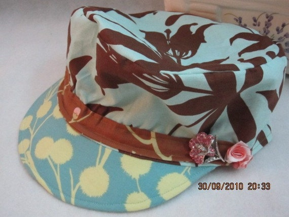 CLOVER A4 handmade ladies summer cotton sun hats caps modern chic DOEFI hair accessories OOAK diy cute new vintage