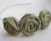 Rolled Fabric Flower Headband - Adult Flower Headband, Head band, Olive, Green, Hair, Fashion, Style