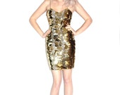 Gold Sequin Glitter Designer Party Dress // M