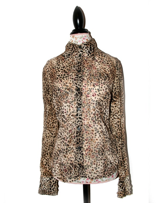 Sheer Leopard Print Button Up Collared Shirt