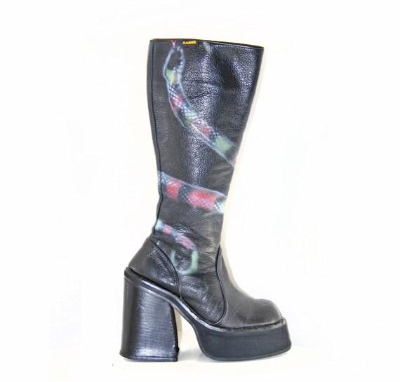 90's Grunge Goth Vintage Sonax Leather Platform Biker Mad Max Snake Boots / 7