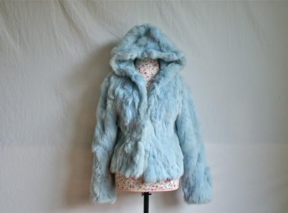 90's Baby Blue Pastel Hooded Cropped Rabbit Fur Jacket / M