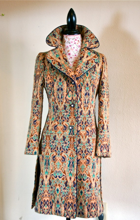 Bohemian Peacock Vintage 60's Lilli Ann Tapestry Kilim Pea Coat // M