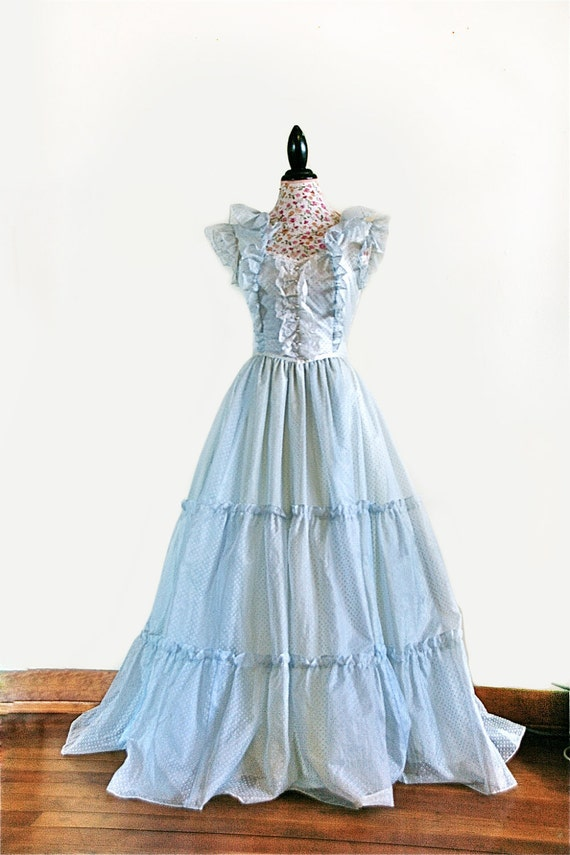 Gunne Sax Sheer Baby Blue Polka Dots and Lace Vintage Cinderella Gown Dress / M