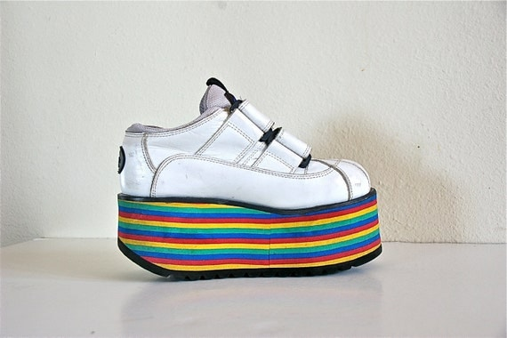 Rave 90's Vintage Leather Stacked Rainbow Platform Wedge Sneakers // Size - 6.5 to 7