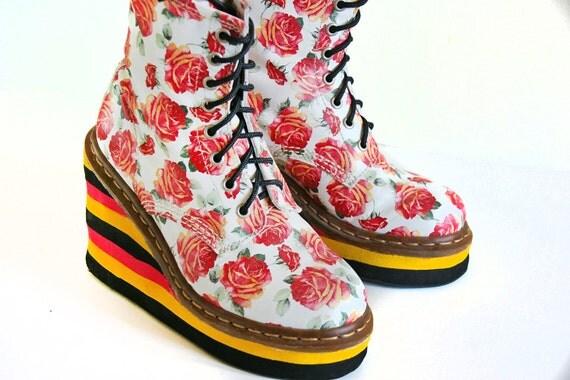Custom // Dr Martens // Floral Rose Leather Stacked Platform Wedge Boots // 7
