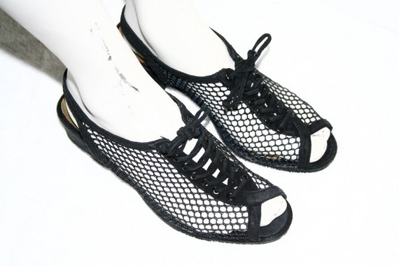 Black Mesh Lace-Up Sandals / 7b