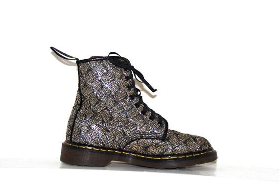 90's Grunge Dr. Martens Glitter Sparkle Confetti Boots // 9