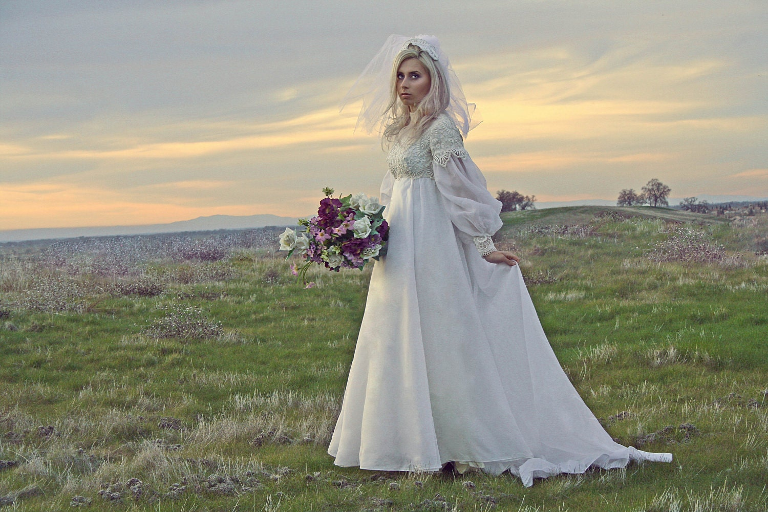 60's Empire Lace Vintage Wedding Gown And Veil