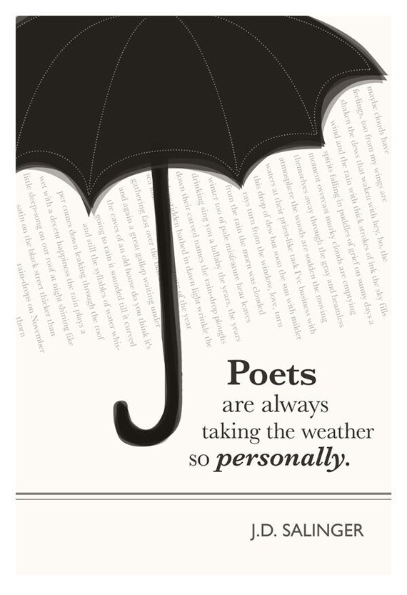 Illustration, J.D. Salinger Quote, Fine Art Print and Art Posters, Umbrella Art, Umbrella Drawing, Poet Art, Spring Decor, Weather Art
