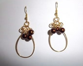 chocolate brown gold earrings