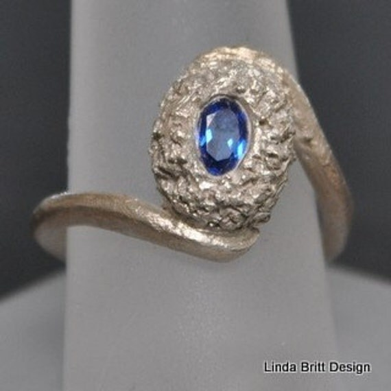 Fine silver ring - Blue Oval CZ -Handmade Ladies Silver Ring - Size 7 Ring