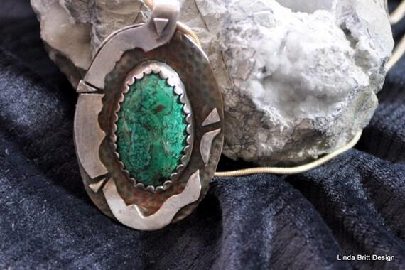 Fine Silver Pendant with Mojave Stone -contemporary silver necklace - Green Stone