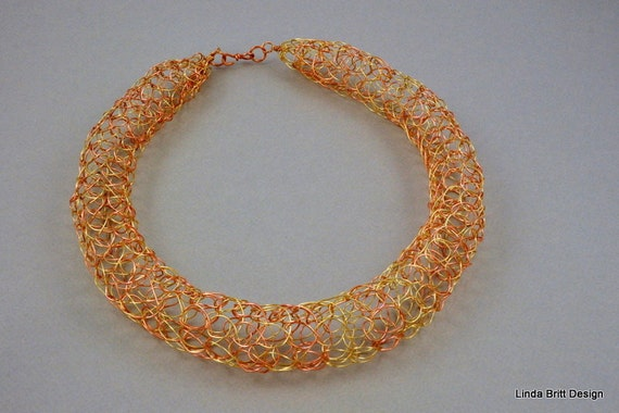 Knitting Patterns For Premature Baby Clothes : Wire Knit Necklace gold and copper chain knitted necklace