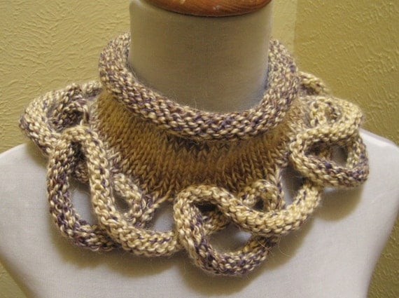 Loopy Bottom Cowl hand knit in Alpaca blend chunky yarn cream lavender and beige